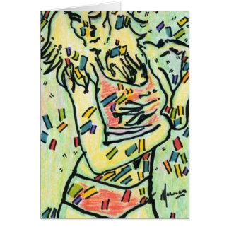 Pintura de acrílico firmada original máxima del es tarjeta pequeña
