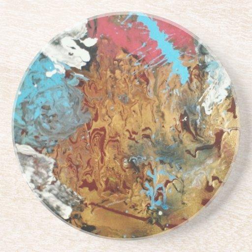 Pintura de acrílico original del arte de la paja d posavasos personalizados