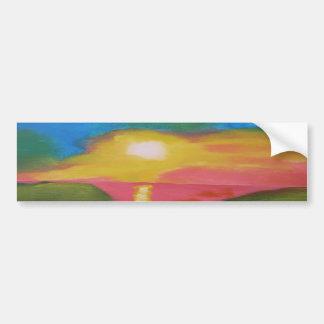 Pintura de acrílico original del cielo hawaiano de pegatina para auto
