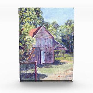 Pintura de acrílico rústica del granero viejo de