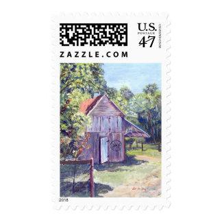 Pintura de acrílico rústica del granero viejo de sello