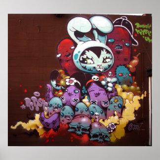 Pintura de aerosol del gatito del conejito en la p posters
