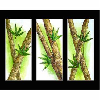 Pintura de bambú tropical - multi fotoescultura vertical
