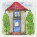 Pintura de casa colorida de la acuarela pegatinas cuadradases