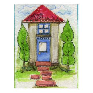 Pintura de casa colorida de la acuarela postales