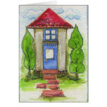 Pintura de casa colorida de la acuarela tarjeton