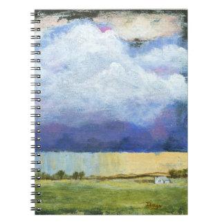 Pintura de casa del paisaje del arte abstracto de spiral notebook
