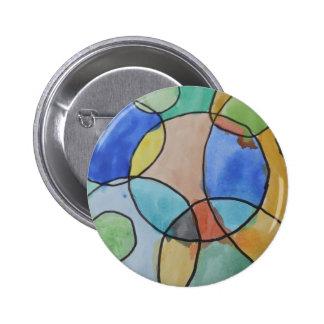 Pintura de círculos coloridos, arte de la acuarela pin redondo de 2 pulgadas