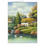 Pintura de cisnes en un lago cerca de un hogar felicitacion
