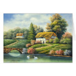 Pintura de cisnes en un lago cerca de un hogar tarjeton