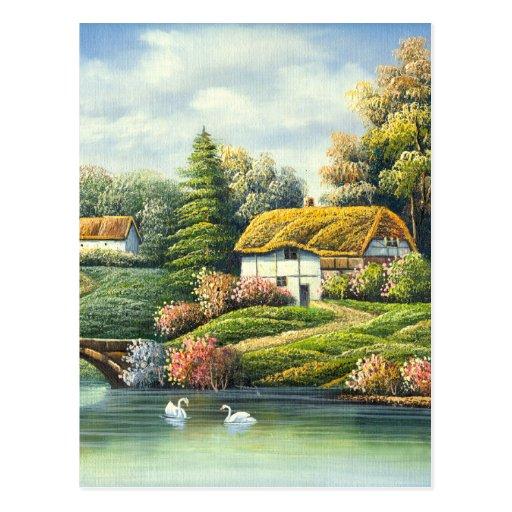 Pintura de cisnes en un lago cerca de un hogar tarjetas postales