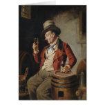 Pintura de consumición de la cerveza del viejo hom tarjeta de felicitación