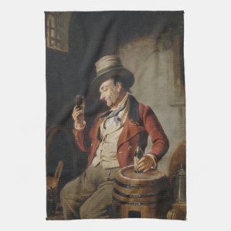 Pintura de consumición de la cerveza del viejo hom toalla de cocina