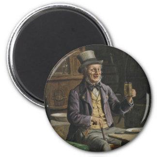 Pintura de consumición de la cerveza imán redondo 5 cm