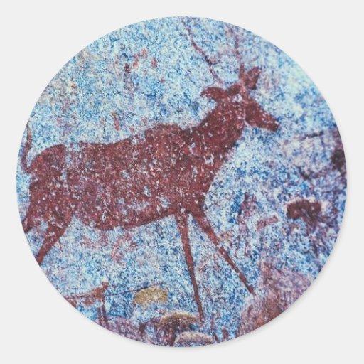 Pintura de cuevas de Drakensberg Pegatina Redonda