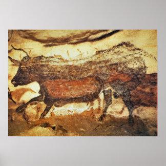Pintura de cuevas prehistórica de Lascaux Póster