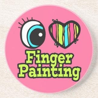 Pintura de dedo brillante del amor del corazón I d Posavaso Para Bebida