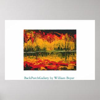 Pintura de dedo de la puesta del sol del fuego póster