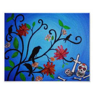 Pintura de Dia de los Muertos Crows Cojinete