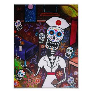 Pintura de Dia de los Muertos Nurse Fotografía