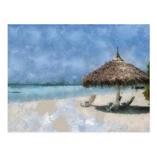 Pintura de Digitaces de la choza de la playa de Postal