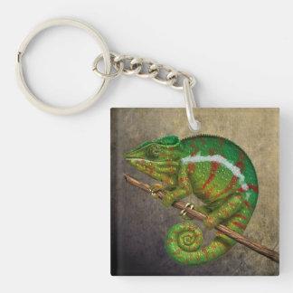 Pintura de Digitaces del camaleón de la pantera Llavero Cuadrado Acrílico A Doble Cara