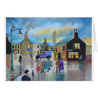 Pintura de escena de Tetley tea van street del Tarjeta De Felicitación