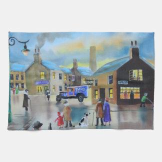 Pintura de escena de Tetley tea van street del Toallas De Cocina