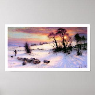Pintura de escena del invierno de José Farquharson Poster