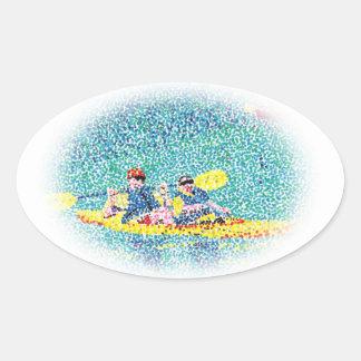 Pintura de escena del kajak del Pointillism, Pegatina Ovalada