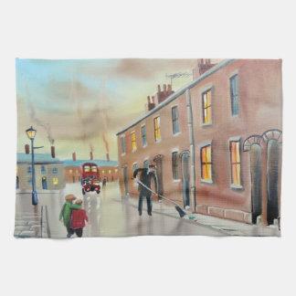 Pintura de escena nostálgica de la calle de los toalla de mano