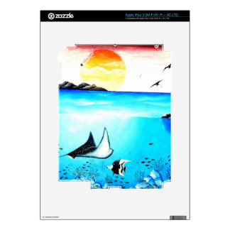 Pintura de escena subacuática hermosa pegatina skin para iPad 3