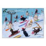 Pintura de esquí de Labradors de la diversión del  Felicitaciones