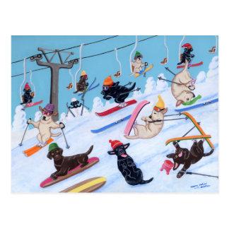 Pintura de esquí de Labradors de la diversión del Tarjeta Postal