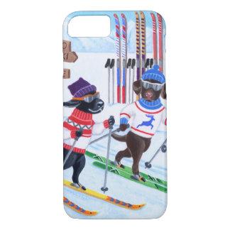 Pintura de esquí nórdica de Labradors Funda iPhone 7