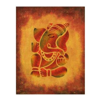 Pintura de Ganesha del Grunge Impresiones En Madera
