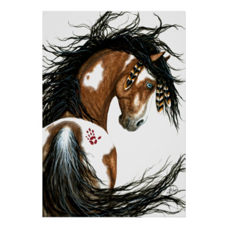 Pintura de guerra majestuosa del caballo del Pinto Póster