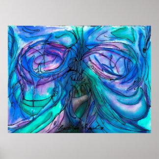 Pintura de hadas de la acuarela del árbol de la ma póster