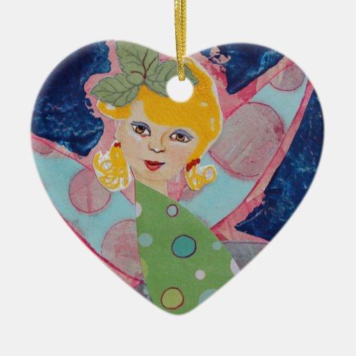 Pintura de hadas del arte del collage de la ninfa adorno de cerámica en forma de corazón