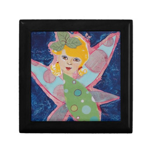 Pintura de hadas del arte del collage de la ninfa  caja de joyas