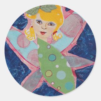 Pintura de hadas del arte del collage de la ninfa pegatina redonda