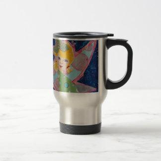 Pintura de hadas del arte del collage de la ninfa taza de viaje