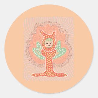 Pintura de hadas del punto del Dreamland del árbol Pegatina Redonda