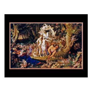 Pintura de hadas Oberon y Titania Postal