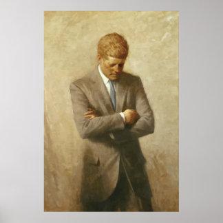 Pintura de John F. Kennedy -- Frontera Posters