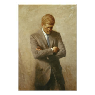 Pintura de John F. Kennedy Póster
