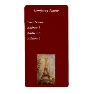 Pintura de Jorte Seurat: La torre Eiffel (1889) Etiqueta De Envío