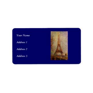 Pintura de Jorte Seurat: La torre Eiffel (1889) Etiqueta De Dirección