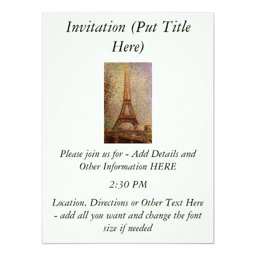 Pintura de Jorte Seurat: La torre Eiffel (1889) Invitación 16,5 X 22,2 Cm