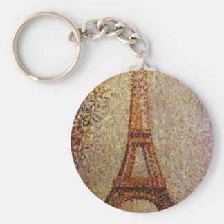 Pintura de Jorte Seurat: La torre Eiffel (1889) Llavero Redondo Tipo Pin